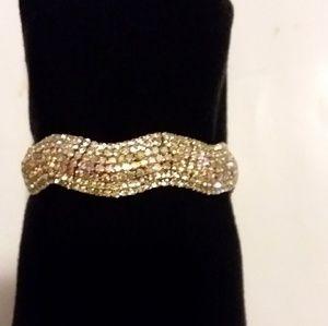 Womens Vintage/Modern Crystal Bracelet set in Gold